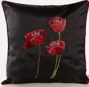 "GORGEOUS Silk Applique Poppies Cushion Cover 18"" (45cm) Black FREE POSTAGE"